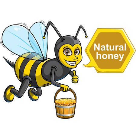 A flying cute bee with bucket of honey Ilustrace