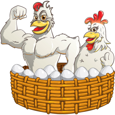 Rooster with hen and eggs in the basket Illustration