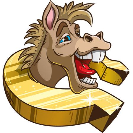 Funny horse in horseshoe