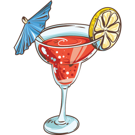 Hand drawn cocktail. Alcoholic drinks.