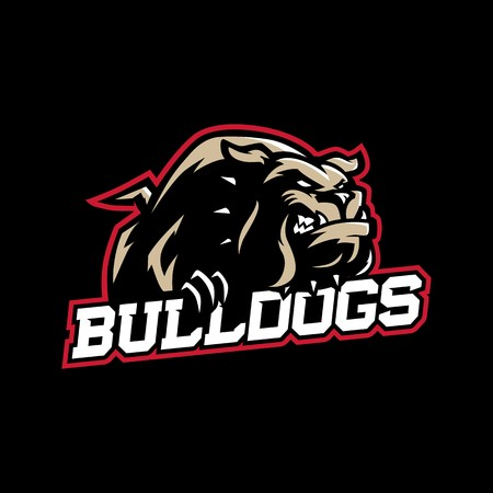 A mean looking cartoon bulldog with collar in sport vector logo style