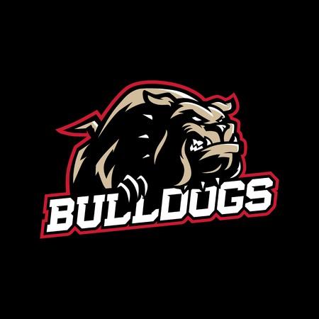 Un bulldog de dibujos animados de aspecto malo con cuello en estilo de logotipo vectorial de deporte Logos
