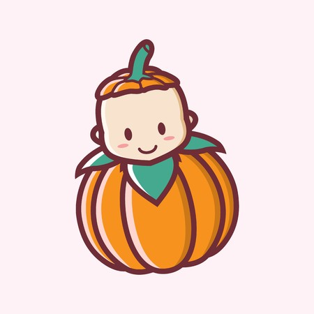 Leuk glimlachend Halloween-embleem van de het beeldverhaal vectorillustratie van de babypompoen Stock Illustratie