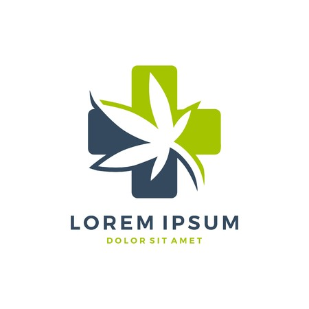 Medical cannabis logo vector. Hemp leaf icon. Çizim