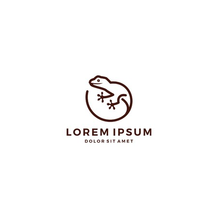 lizard gecko logo vector icon template line art outline  イラスト・ベクター素材