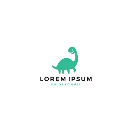 schattige dino dinosaurus dinosaurus brontosaurus logo vector pictogrammalplaatje