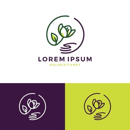 flower hand care shop store sale logo vector line outline icon download Illustration