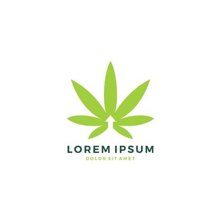 medical cannabis leaf up arrow hemp logo vector icon template illustration Иллюстрация