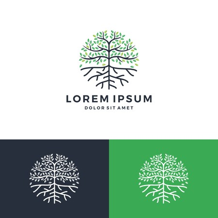 Tree and root icon vector leaf round circle emblem badge download
