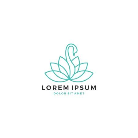 Lotus swan logo vector line outline icon illustration