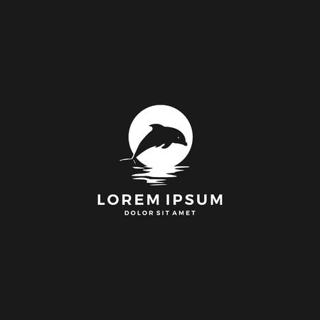 Dolphin moon bay beach sea logo vector icon template illustration negative space Illustration