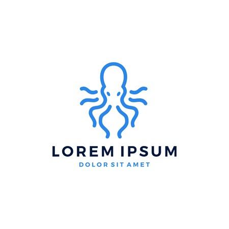Octopus logo kraken vector icon line art outline download Vettoriali