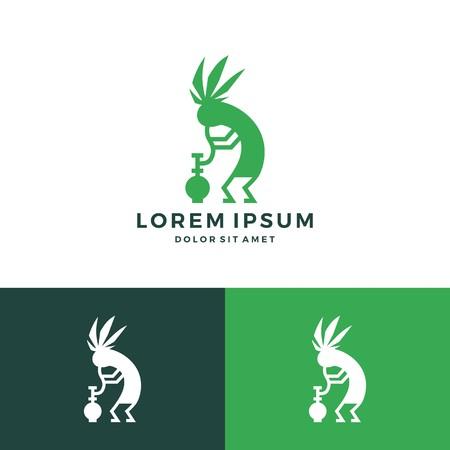 kokopelli cannabis bong weed hemp logo vector download