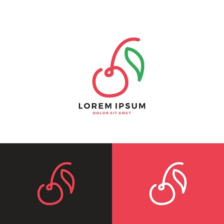 Cherry logo,  line art vector