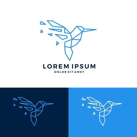 hummingbird colibri bird geometric shattered fractal fraction logo vector icon template Illusztráció
