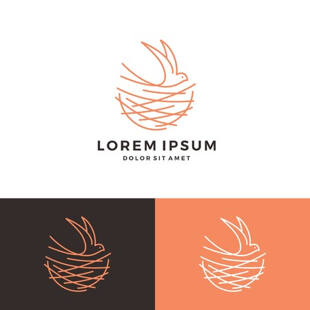 bird nest walet logo vector line art outline download