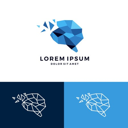 Geometric brain icon smart creative low poly vector download