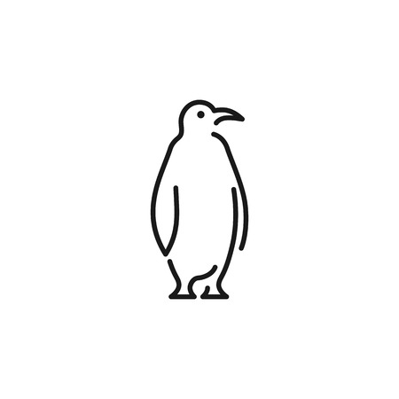 penguin logo vector icon line outline monoline illustration