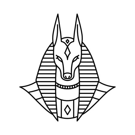 anubis logo vector line art outline monoline illustration