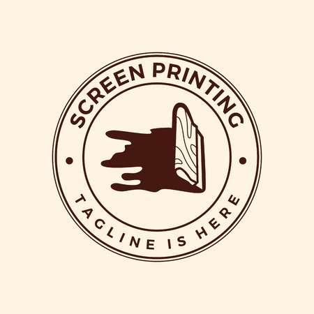 screen printing silk screenprinting logo emblem badge stamp vector illustration