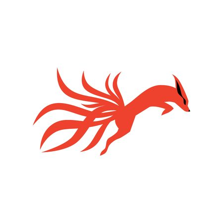 nine tails fox logo vector icon illustration