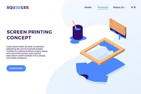 Siebdruck isometrische Vektorelemente Illustration Landingpage Website Banner Cover Konzept Vektorgrafik