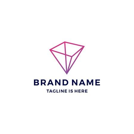 geometric prism logo vector blockchain bitcoin ethereum vector Illustration