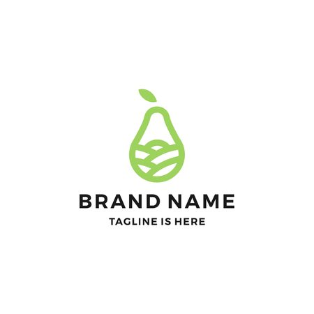pear orchard garden landscape field logo vector icon line outline monoline