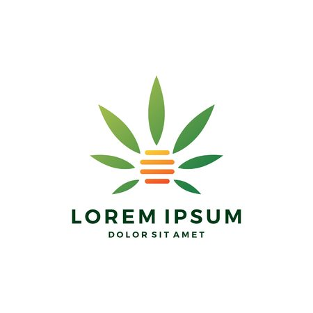 cannabis hive hemp marijuana leaf logo vector