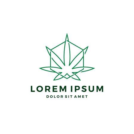 cannabis chanvre feuille de marijuana logo géométrique contour dessin au trait Logo