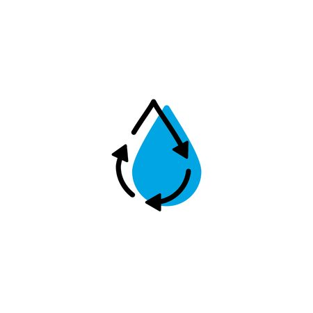 recycle water drop fresh clean logo icon vector simple line outline monoline color fill style