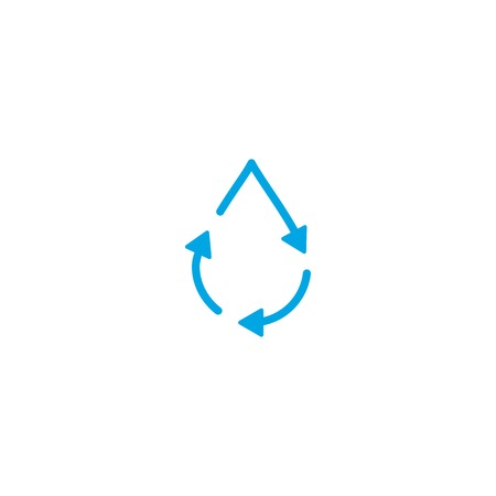 recycle water drop fresh clean logo icon vector simple line outline monoline Illustration