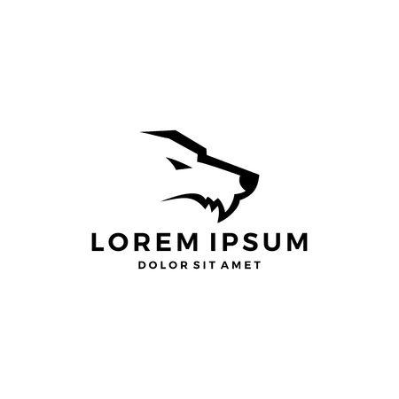 tête de loup croc logo icône simple minimaliste minimaliste