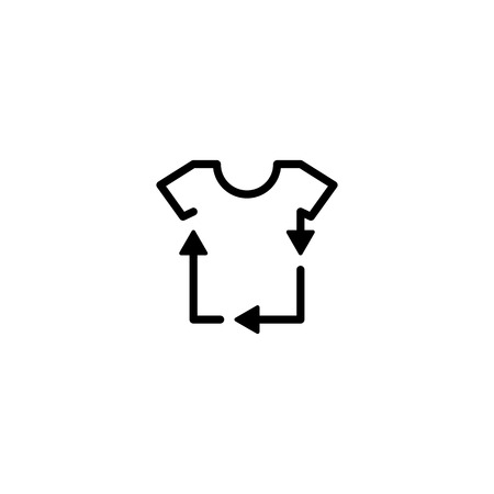 recycled recycle tee clothes t shirt laundry logo icon vector line outline monoline