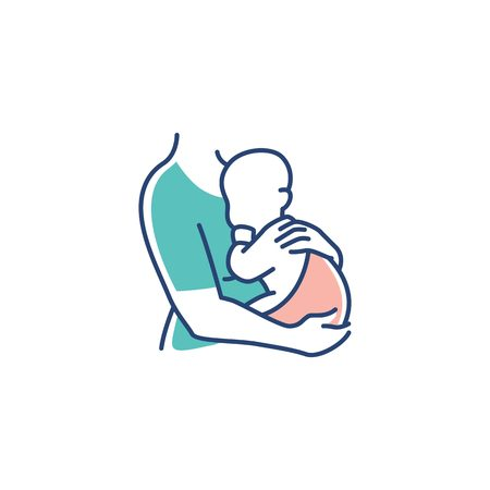 mom and baby logo, maternal woman holding a newborn baby in her arms vector illustration Logó