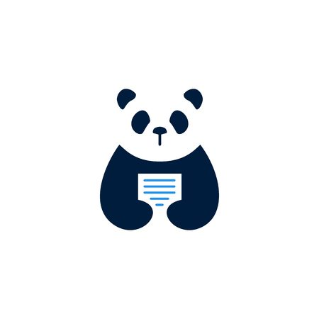 panda paper logo vector icon illustration Illustration