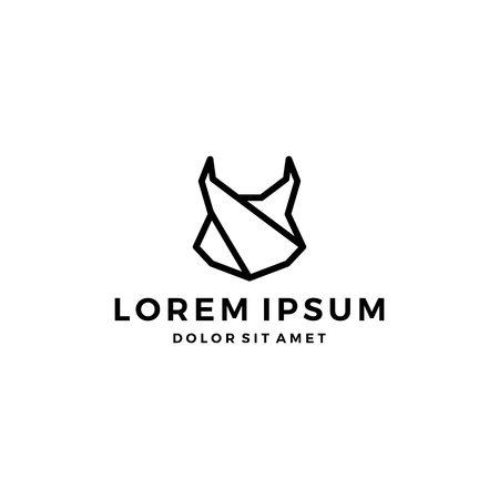 geometric lynx head black logo vector icon line outline monoline