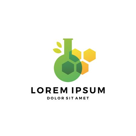 lab chemical leaf DNA honeycomb logo vector icon 일러스트