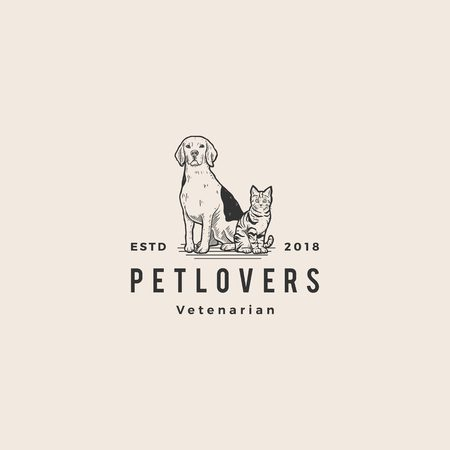 chien chat amoureux des animaux logo hipster vintage vieille main dessin illustration vectorielle