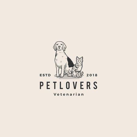 hond kat huisdierenliefhebber logo hipster vintage oude rot tekening vectorillustratie