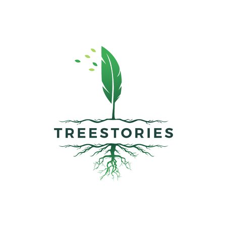 tree quill feather ink root logo vector icon illustration