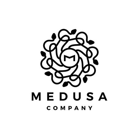 M letter medusa gorgona logo vector icon illustration Illustration