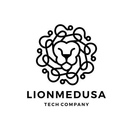 lion medusa gorgona tech logo vector icon illustration