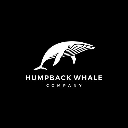 humpback whale logo icon vector illustration
