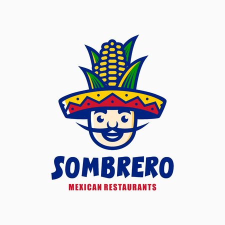 sombrero hat corn mexican restaurant logo mascot character cartoon illustration