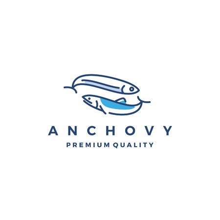 anchovy fish logo vector icon seafood illustration