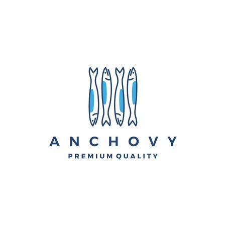 anchois poisson logo vector icône illustration de fruits de mer Logo