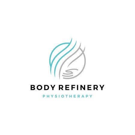 icona di vettore del logo del cerchio di cura delle mani di raffineria del corpo
