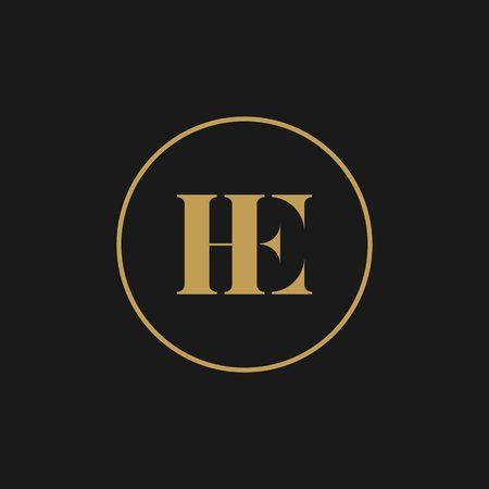 HE lettre marque logo or icône de vecteur initial noir Logo