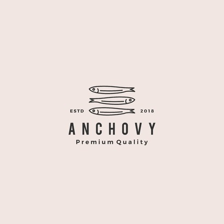anchovy fish logo hipster vintage retro label emblem packaging vector icon seafood illustration Archivio Fotografico - 107800912